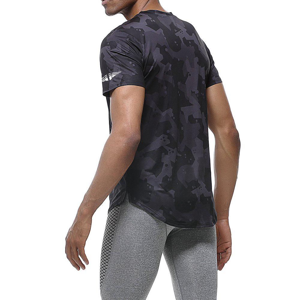 Quick-drying Elastic Sports T-Shirt Breathable Absorbent Gym Clothes - BLACK L