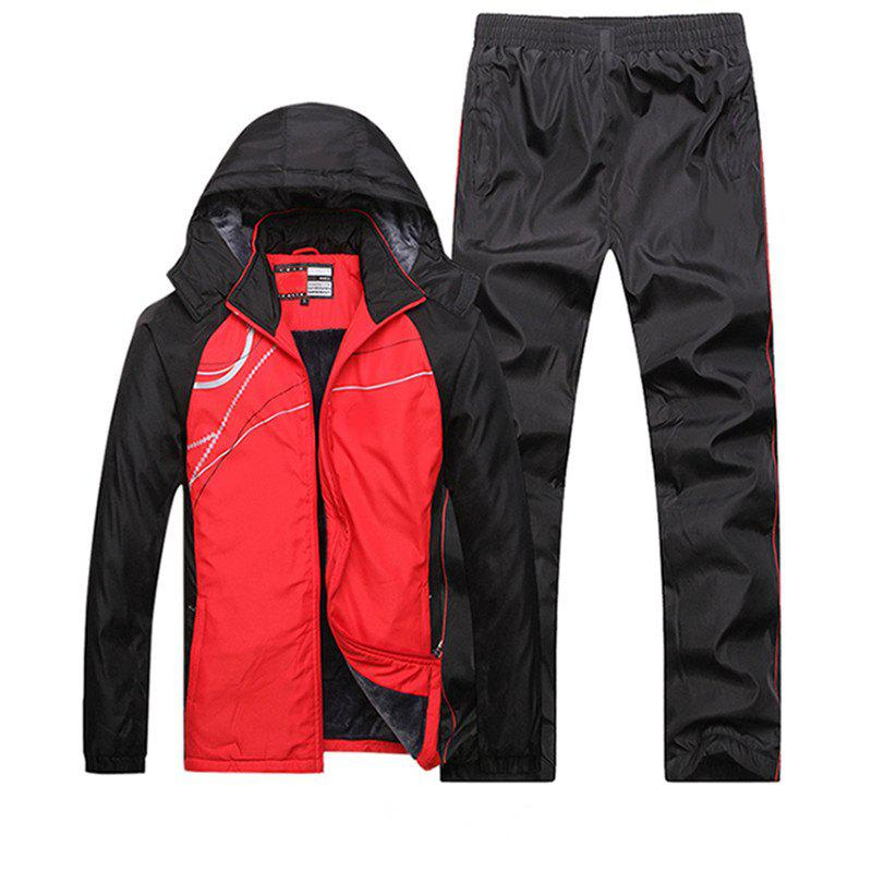 2017 New Men's Fashion Winter Hood Coat Sports Suit - RED L