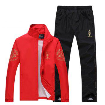 2017 Men's Autumn Running Sports Suit - RED RED
