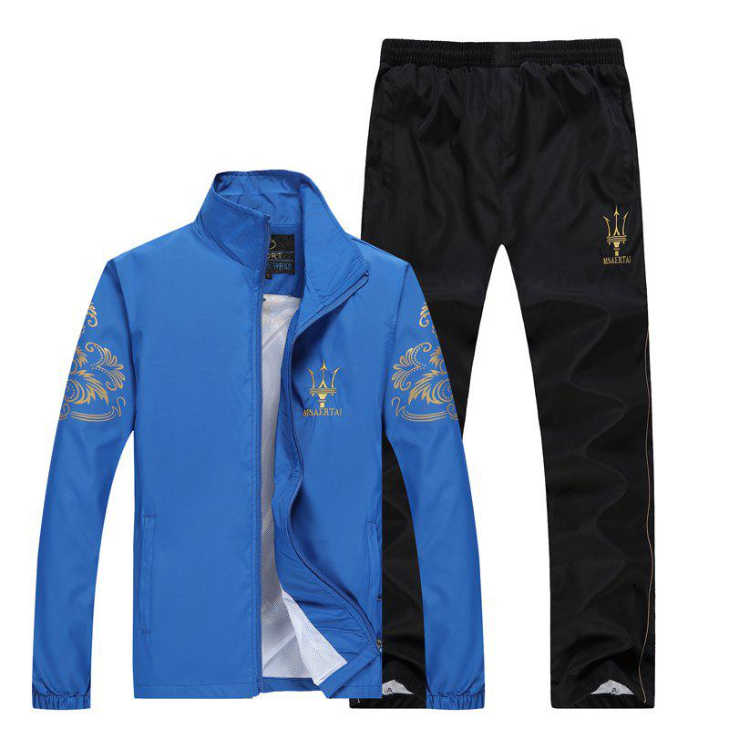 2017 Men's Autumn Running Sports Suit - BLUE L