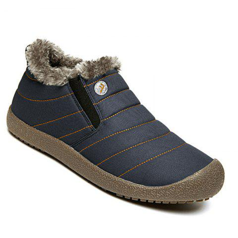 Men Warm Casual Sneakers Fur British Boots Outdoor Sport Shoes - BLUE 46
