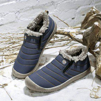 Men Warm Casual Sneakers Fur British Boots Outdoor Sport Shoes - BLUE BLUE