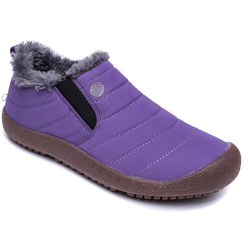 Men Warm Casual Sneakers Fur British Boots Outdoor Sport Shoes - PURPLE 36