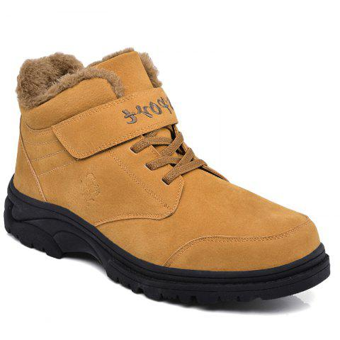Men Warm Casual Sneakers High Top Fur British Boots Outdoor Sport Shoes - BROWN 37