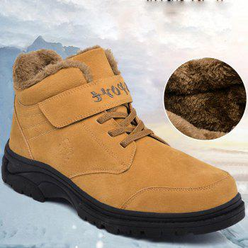 Men Warm Casual Sneakers High Top Fur British Boots Outdoor Sport Shoes - BROWN BROWN