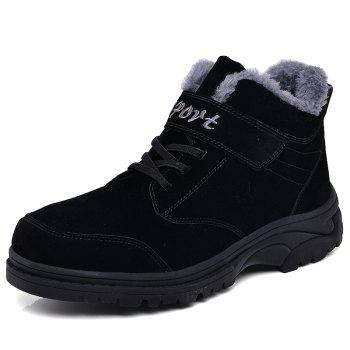 Men Warm Casual Sneakers High Top Fur British Boots Outdoor Sport Shoes - BLACK BLACK