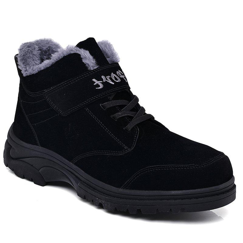 Men Warm Casual Sneakers High Top Fur British Boots Outdoor Sport Shoes - BLACK 43