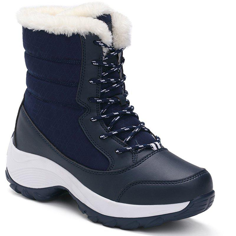 UK Womens Winter Mid Calf Boots Chunky Heels Fold Over Slip On Casual Shoes Size