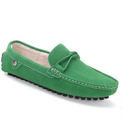 Men Warm Loafers Casual Slip on Sneakers Peas Male Drive Shoes - GREEN 40