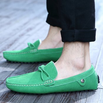 Men Warm Loafers Casual Slip on Sneakers Peas Male Drive Shoes - GREEN GREEN