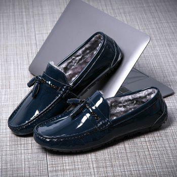 Men Warm Peas Shoes Loafers Casual Slip on Sneakers Male Drive Sneakers - BLUE BLUE