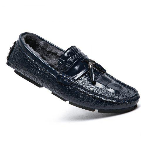 Men Peas Shoes Warm Loafers Casual Slip on Sneakers Male Drive Sneakers - BLUE 39