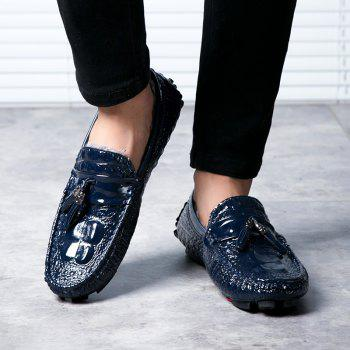 Men Peas Shoes Warm Loafers Casual Slip on Sneakers Male Drive Sneakers - BLUE BLUE