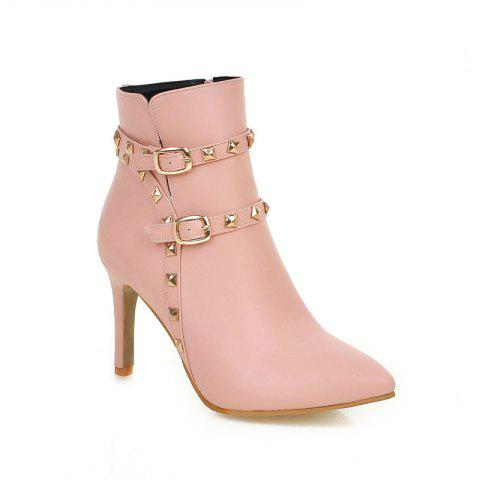 Pointed Thin Heel Sexy Boots with High Heel - PINK 34