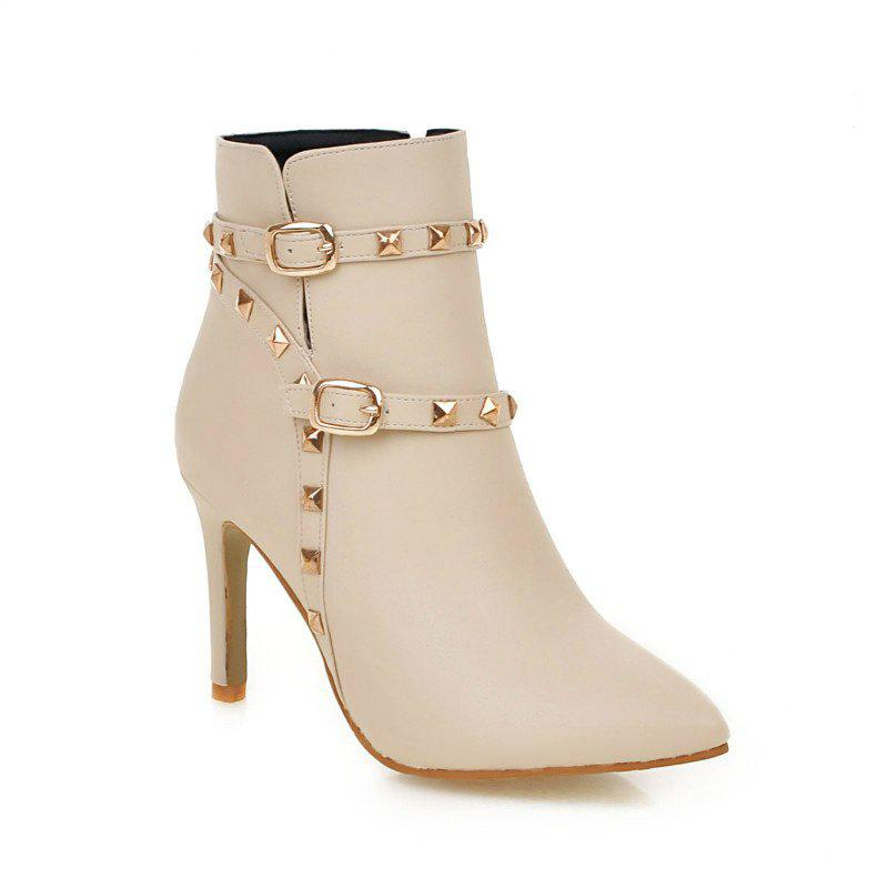Pointed Thin Heel Sexy Boots with High Heel - BEIGE 43
