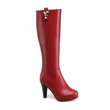 Round Head Heel High Heel Sexy Knight Boots - WINE RED WINE RED