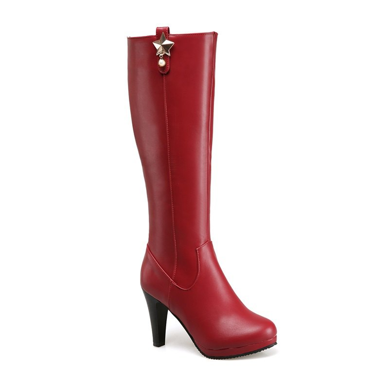 Round Head Heel High Heel Sexy Knight Boots - WINE RED 34
