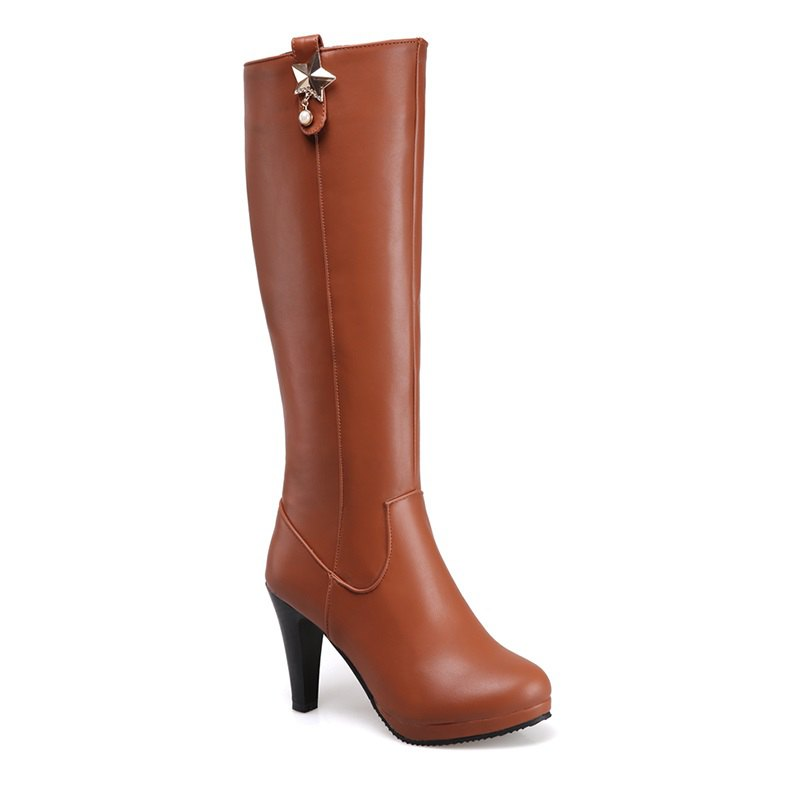 Round Head Heel High Heel Sexy Knight Boots - BROWN 42