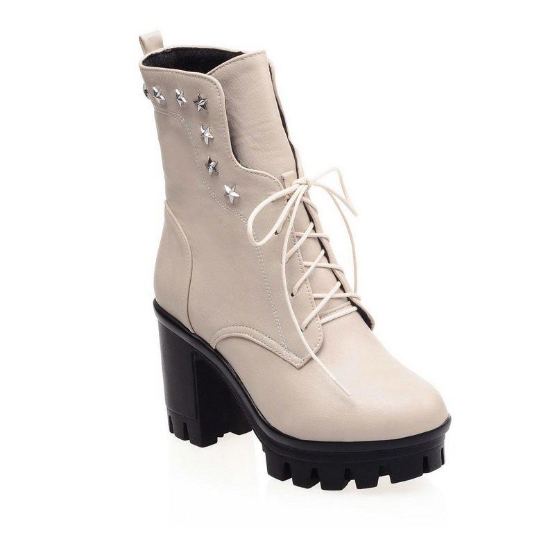 Round Head Waterproof Platform and Coarse Heel High Tie Martin Boots - BEIGE 37
