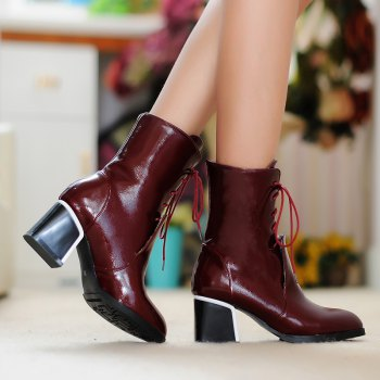 Round Thick Heel Fashion Martin Boots - RED RED