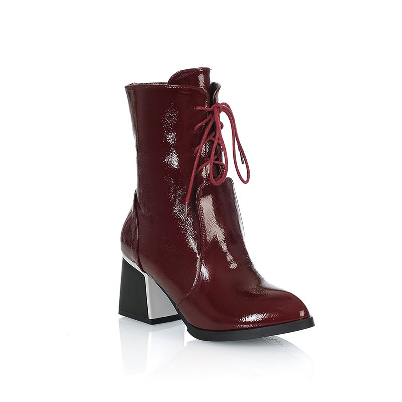 Round Thick Heel Fashion Martin Boots - RED 37