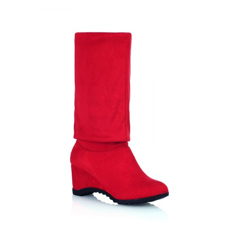 Round Slipsole Over Knee Boots - RED 34