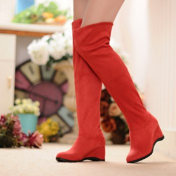 Round Slipsole Over Knee Boots - RED RED