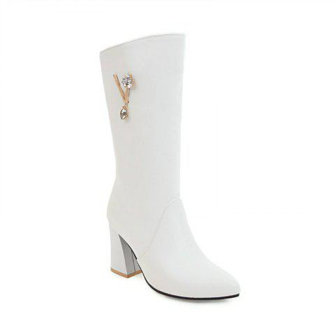 Pointed and High Heeled Fashion Knight Boots - WHITE 32