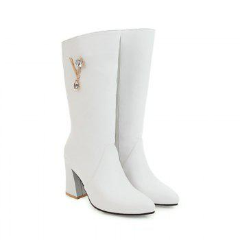 Pointed and High Heeled Fashion Knight Boots - WHITE WHITE