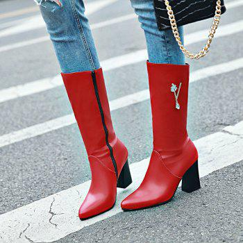 Pointed and High Heeled Fashion Knight Boots - RED RED