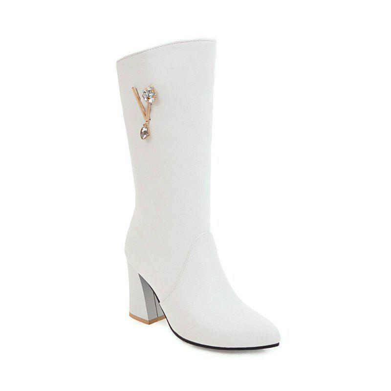 Pointed and High Heeled Fashion Knight Boots - WHITE 34