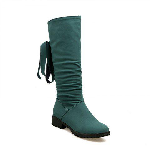 Round Head Low Heel Tie Bowknot Fashion High Boots - GREEN 34