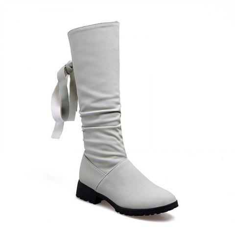 Round Head Low Heel Tie Bowknot Fashion High Boots - GRAY 47