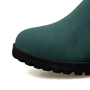Round Head Low Heel Tie Bowknot Fashion High Boots - GREEN GREEN