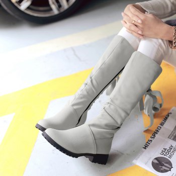 Round Head Low Heel Tie Bowknot Fashion High Boots - GRAY GRAY