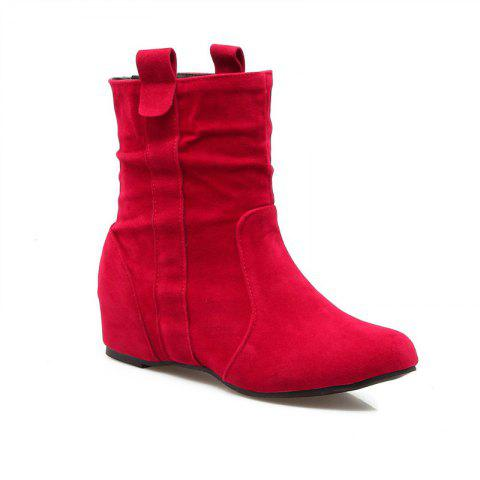 Inside Round Head Heighten Simple Short Boots - RED 40