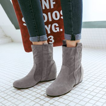 Inside Round Head Heighten Simple Short Boots - GRAY GRAY