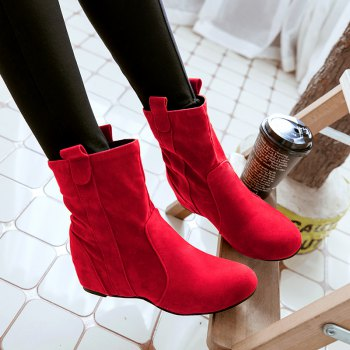 Inside Round Head Heighten Simple Short Boots - RED RED
