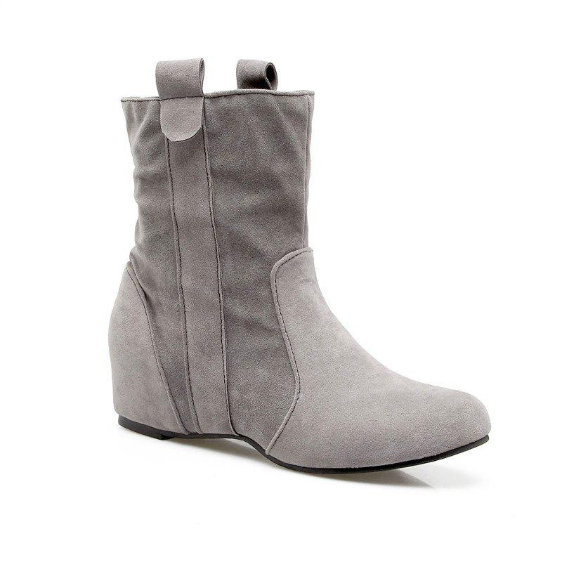 Inside Round Head Heighten Simple Short Boots - GRAY 32