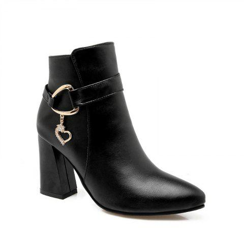 Pointed Heel High and Fashion Short Boots - BLACK 38