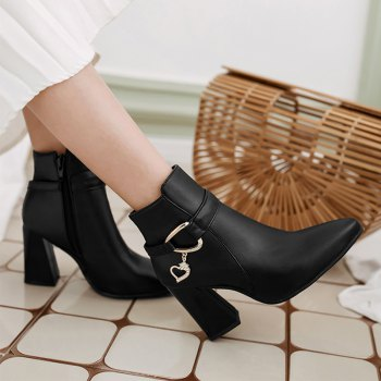Pointed Heel High and Fashion Short Boots - BLACK BLACK