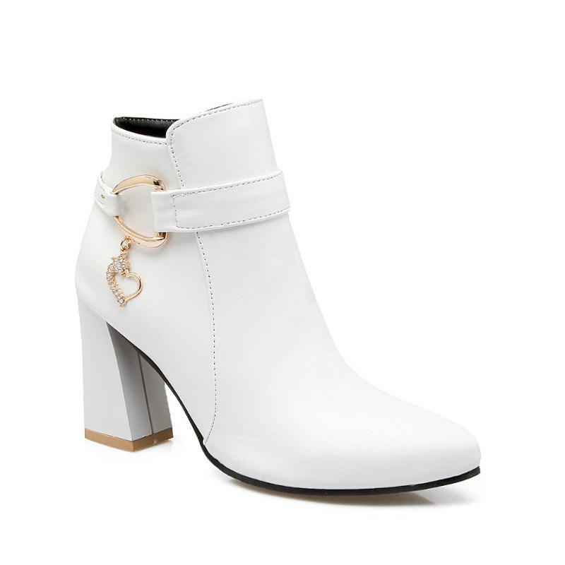 Bottines pointues et courtes - Blanc 36