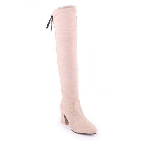 A Rough Heels Sexy Knee-Length Boots - APRICOT 35