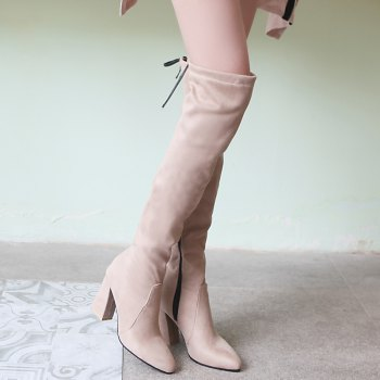 A Rough Heels Sexy Knee-Length Boots - APRICOT APRICOT
