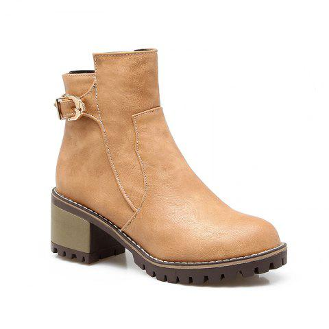 Head with Thick and All-Match Belt Short Boots - APRICOT 38