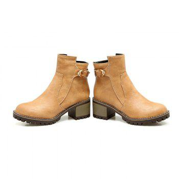 Head with Thick and All-Match Belt Short Boots - APRICOT APRICOT