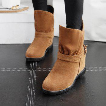 Round Head Thick Heel Height of High Fashion Belt Buckle Ankle Boots - YELLOW YELLOW