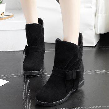 The Round Head Thick with Inside Raise Sweet Bowknot Short Boots - BLACK BLACK