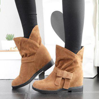 The Round Head Thick with Inside Raise Sweet Bowknot Short Boots - YELLOW YELLOW