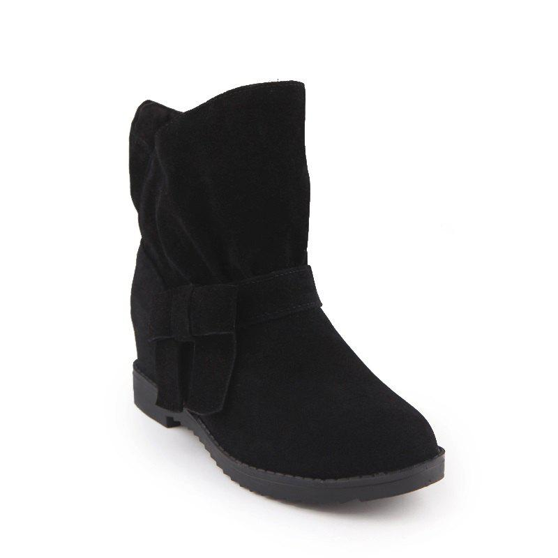 The Round Head Thick with Inside Raise Sweet Bowknot Short Boots - BLACK 38